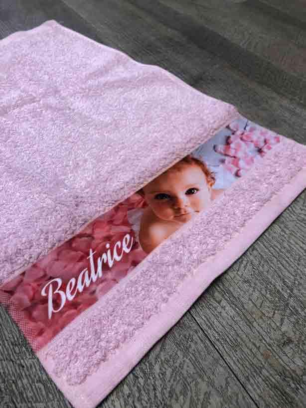 asciugamani personalizzati con fascia stampata